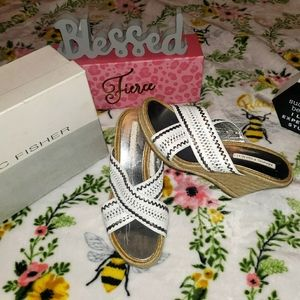 Marc Fisher Ancient White & Silver Wedge Sandals